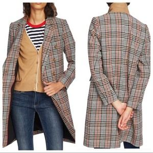 Court & Rowe Autumn Plaid Topper Top Coat in Brown